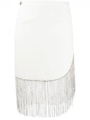 Декорированная юбка мини с бахромой Philipp Plein. Цвет: белый