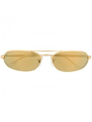 Солнцезащитные очки в тонкой овальной оправе Balenciaga Eyewear. Цвет: золотистый