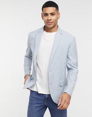 Бледно-синий пиджак зауженного кроя -Голубой New Look