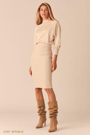 Трикотажное кремовое платье миди с юбкой в рубчик LOVE REPUBLIC
