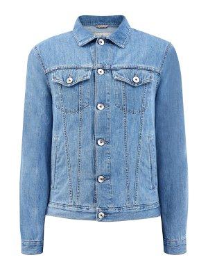 Джинсовая куртка в классическом стиле из японского денима BRUNELLO CUCINELLI. Цвет: голубой