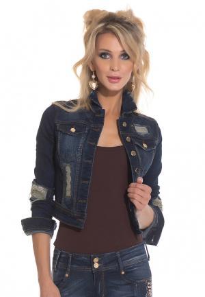 Куртка джинсовая DSHE MP002XW1AVBO. Цвет: синий