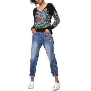 Пуловер с V-образным вырезом и рисунком из 100% хлопка Ennis DESIGUAL. Цвет: черный наб. рисунок