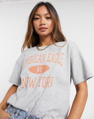 Серая футболка с логотипом университетской команды -Серый American Eagle