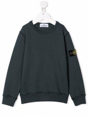 Пуловер с круглым вырезом Stone Island Junior. Цвет: зеленый