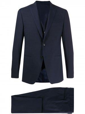 Строгий костюм-двойка Canali. Цвет: синий