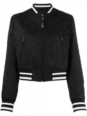 Куртка-бомбер с узором Dolce & Gabbana. Цвет: черный