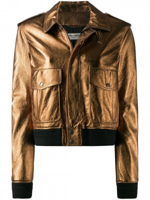 Куртка-бомбер с эффектом металлик Saint Laurent. Цвет: золотистый
