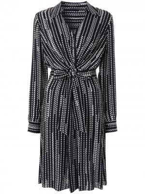 Платье-рубашка Saxon с принтом Elie Tahari. Цвет: черный