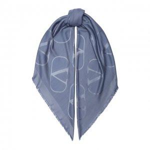 Шаль из шелка и шерсти Garavani Valentino. Цвет: синий