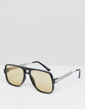 Очки с прозрачными стеклами в черной квадратной оправе Spitfire. Цвет: черный