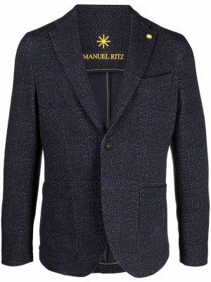 Однобортный пиджак Manuel Ritz. Цвет: синий
