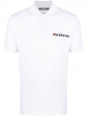 Рубашка поло с короткими рукавами и логотипом Moschino. Цвет: белый