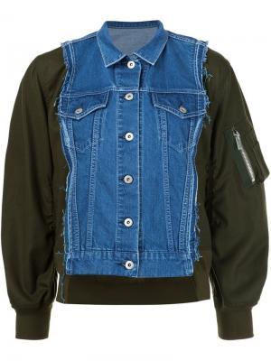 Куртка-бомбер с джинсовой панелью Sacai. Цвет: синий