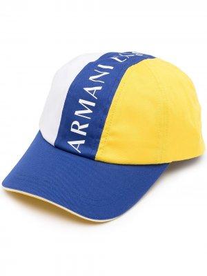 Бейсболка в стиле колор-блок с логотипом Armani Exchange. Цвет: разноцветный