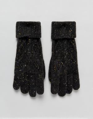 Вязаные перчатки с узором косичка Tom-Серый Boardmans