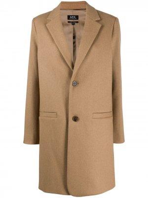 Однобортное пальто A.P.C.. Цвет: нейтральные цвета