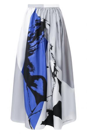 Шелковая юбка-миди с принтом Giorgio Armani. Цвет: разноцветный