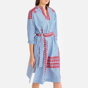 Платье в полоску с круглым вырезом разрезом спереди JACKIE DRESS ANTIK BATIK. Цвет: синий в полоску