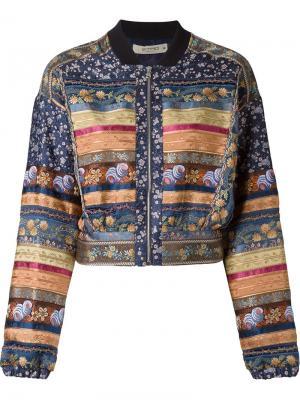 Укороченная куртка-бомбер с вышивкой Etro. Цвет: многоцветный