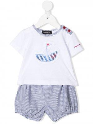 Комплект из шортов и футболки с графичным принтом Monnalisa. Цвет: белый