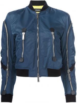 Куртка-бомбер с контрастными лямками Dsquared2. Цвет: синий