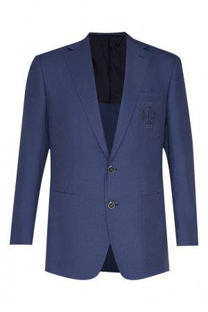 Пиджак синего цвета Stefano Ricci. Цвет: синий