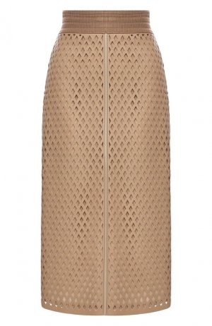 Кожаная юбка Fendi. Цвет: бежевый
