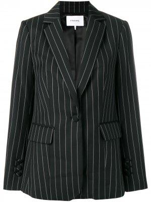 Pinstriped fitted blazer FRAME. Цвет: черный