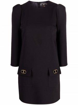 Платье-трапеция с объемными плечами Elisabetta Franchi. Цвет: черный