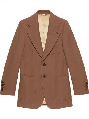 Пиджак узкого кроя на пуговицах Gucci. Цвет: коричневый