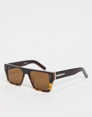 Женские коричневые солнцезащитные очки в узкой квадратной черепаховой оправе с затемненными стеклами Cut Seventeen-Коричневый Spitfire