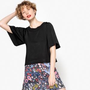Пуловер короткий, рукава 3/4 LA REDOUTE COLLECTIONS. Цвет: розовый фуксия,черный