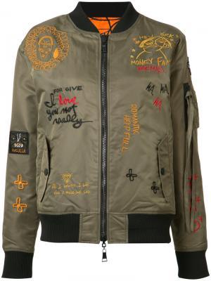 Двухсторонняя куртка-бомбер Haculla. Цвет: зелёный