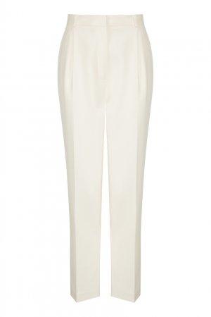Классические брюки молочного цвета LAROOM. Цвет: белый