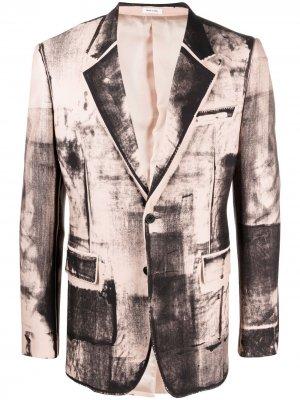 Однобортный пиджак с принтом X-Ray Alexander McQueen. Цвет: розовый