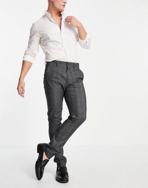 Зауженные брюки от смокинга серого цвета -Серый ASOS DESIGN