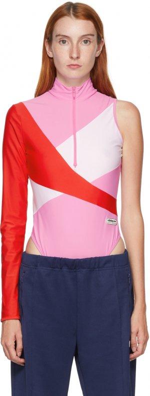 Pink Colorblocked One Sleeve Bodysuit adidas LOTTA VOLKOVA. Цвет: clear pink