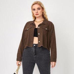 На пуговицах Одноцветный Повседневный Джинсовая куртка размера плюс SHEIN. Цвет: шоколадно-коричневый