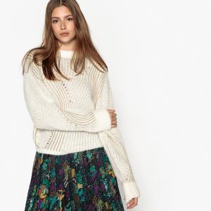 Пуловер с круглым вырезом из плотного трикотажа SEE U SOON. Цвет: черный,экрю