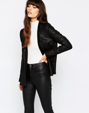 Кожаная куртка Bali Selected. Цвет: черный