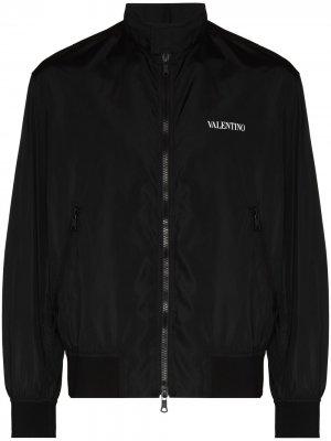 Бомбер на молнии с логотипом Valentino. Цвет: черный