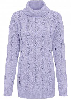 Пуловер с узором косичка bonprix. Цвет: лиловый