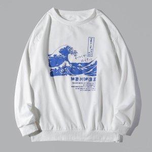 Мужской Свитшот с японским текстовым принтом & волны SHEIN. Цвет: белый