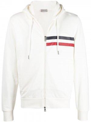 Striped detail logo hoodie Moncler. Цвет: белый