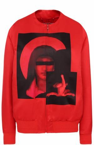 Бомбер на молнии с контрастным принтом Givenchy. Цвет: красный