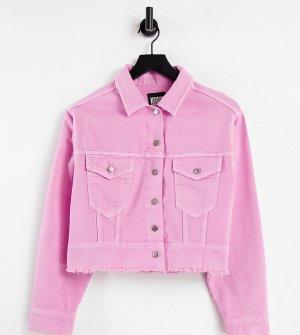 Розовая укороченная джинсовая куртка -Розовый цвет Reclaimed Vintage