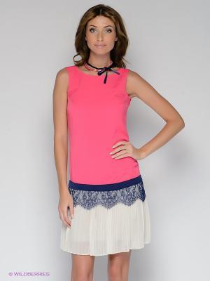 Платье BOVONA. Цвет: фуксия, молочный, темно-синий