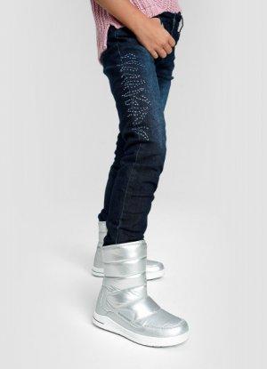 Джинсы Slim для девочек на флисовой подкладке O`Stin. Цвет: темно-синий