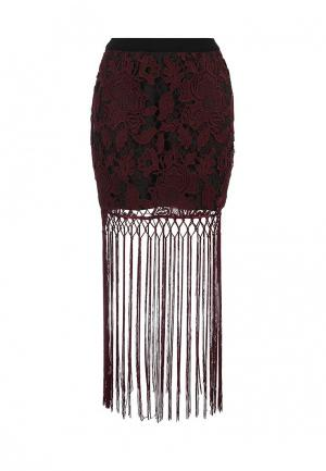Юбка Lost Ink FRINGED LACE MINI. Цвет: бордовый